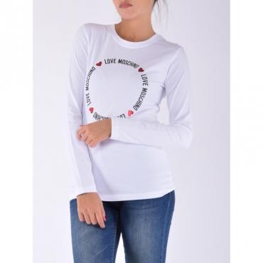 T-shirt manica lunga tondo scritta BIANCO