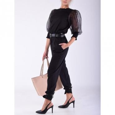 Pantalone arriccio con cintura NERO