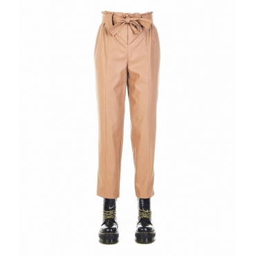 Pantaloni in eco pelle Mijci003 marrone