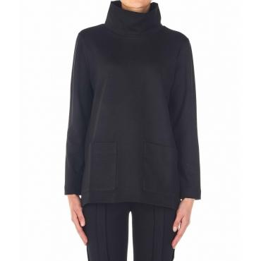 Maglione con tasche applicate nero