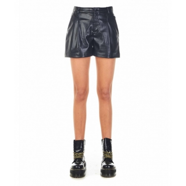 Short in similpelle nero