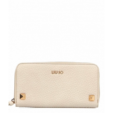 Wallet with studs crema