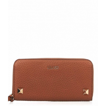 Wallet with studs marrone