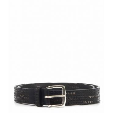 Cintura in pelle con rivetti nero