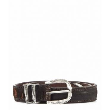 Cintura in pelle con struttura marrone