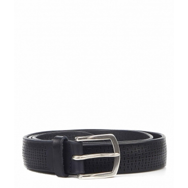 Cintura in pelle con fibbia blu scuro