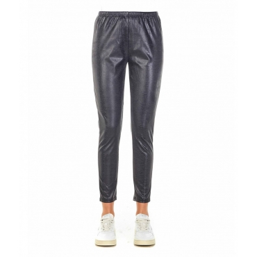 Pantaloni in eco-pelle grigio
