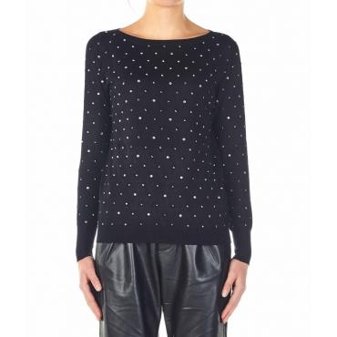 Maglione con applicazioni di strass nero