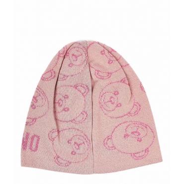 Berretto con motivo orsacchiotto rosa