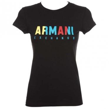 T-Shirt nera con logo multicolore 1200