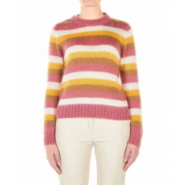 Maglione con strisce a contrasto multicolore