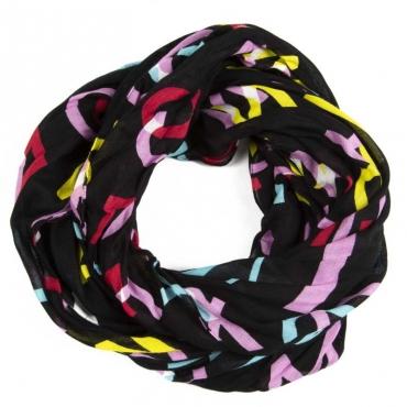 Foulard nero con logo multicolore 00521