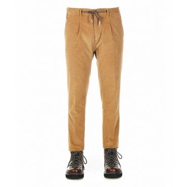 Pantaloni in mezzo in velluto a coste beige