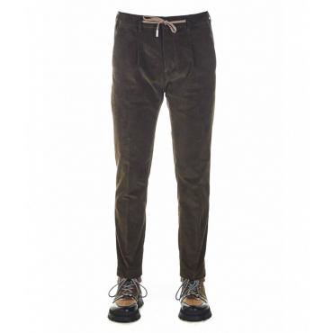 Pantaloni in mezzo in velluto a coste marrone scuro
