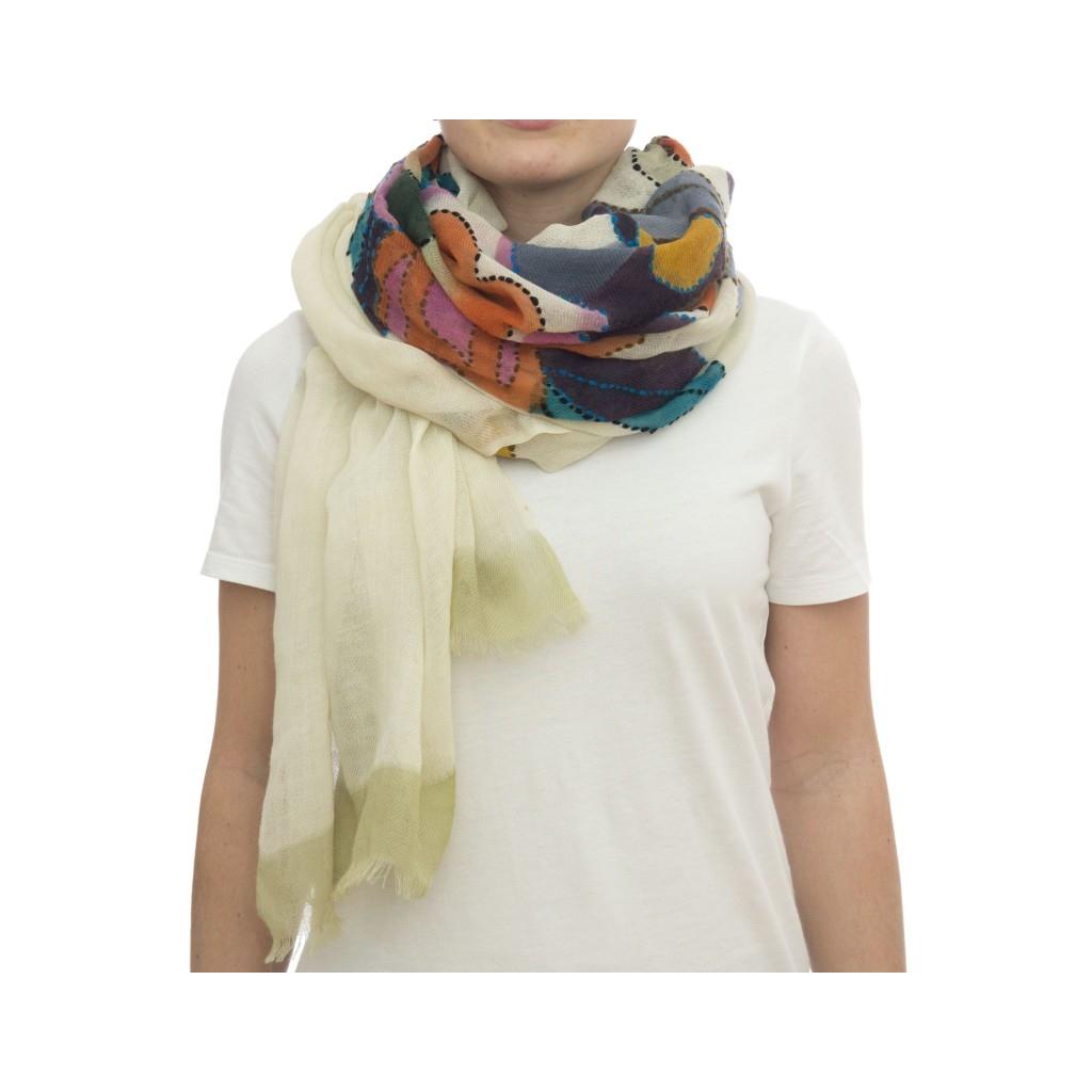 Sciarpa - Giglio 7210  00 x 200   00 lana dipinta a mano