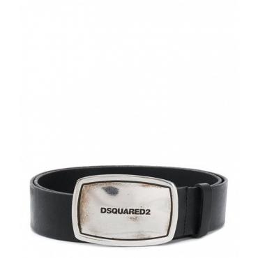 Cintura con fibbia con logo nero
