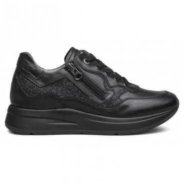 Sneakers nera con zip e glitter 100