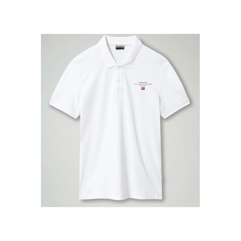 Polo Napapijri Uomo Piquet Elbas 3 Cotone 002 BRIGHT WHITE
