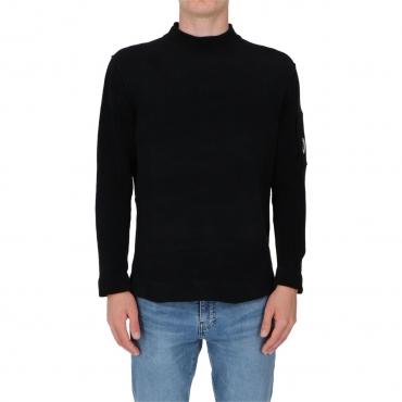 Maglia Cp Company Uomo Lupetto Ciniglia 999 BLACK