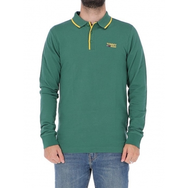 Polo Tommy Hilfiger Uomo Stretch Long Sleeve 396 HUNTER GREEN
