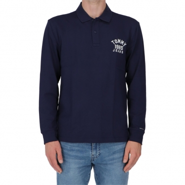 Felpa Tommy Hilfiger Uomo Logo Longsleeve Polo CBK BLACK IRIS