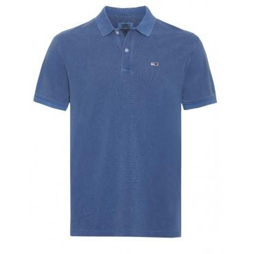 Polo Tommy Hilfiger Jeans Piquet Slavato Uomo CZY AD BLUE