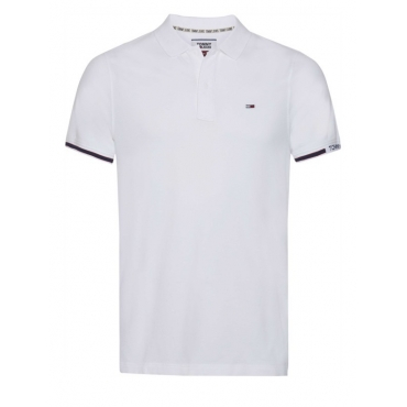 Polo Tommy Hilfiger Jeans Piquet Stretch Slim Fit YBR WHITE