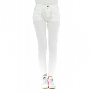 Pantalone donna - Briana 4272 skinny vita alta microperato W441 - Bianco