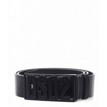 Cintura in pelle con fibbia con logo nero