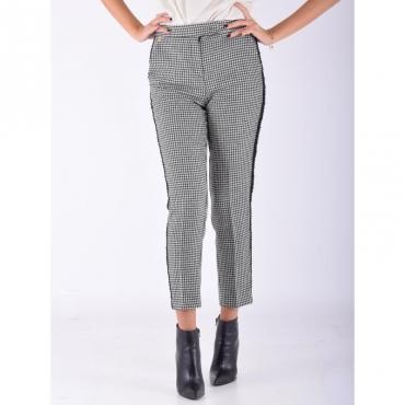 Pantalone new york pied de poule PANNA/NERO