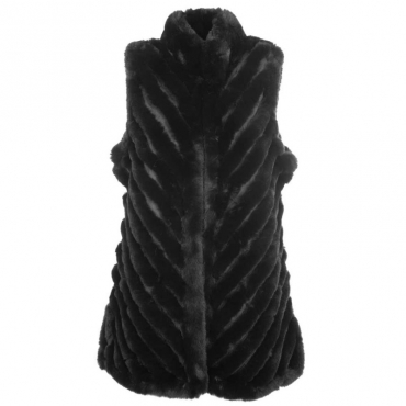 Gilet in eco-pelliccia foderato 01BLACK