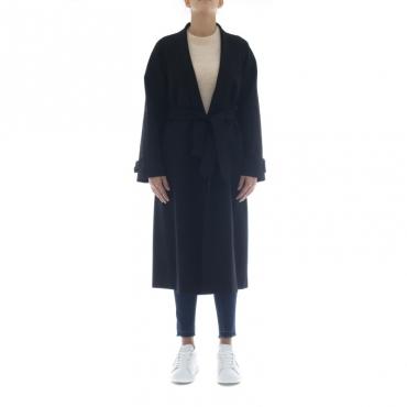 Cappotto - J6011 cappotto punto milano taglio kimono 003 - Nero