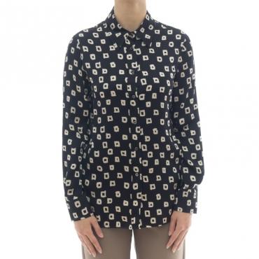 Camicia donna - J2023/q camicia stampa quadro 003 - Nero