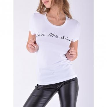 T-shirt basica logo corsivo BIANCO