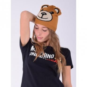 Berretto stampa orso con orecchie CAMMELLO