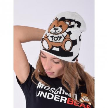 Cappello stampa orso logo allover NERO/BIANCO