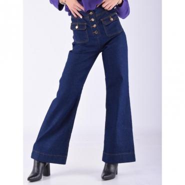 Jeans palazzo bottoni a vista DENIM SCURO