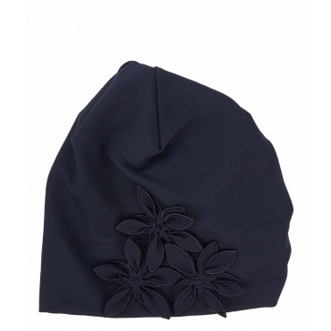 Berretto con ricamo floreale blu
