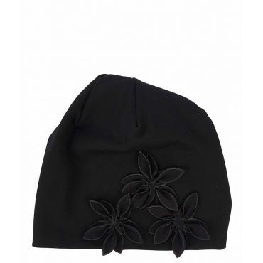 Berretto con ricamo floreale nero