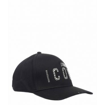 Cappellino da baseball con applicazione di strass nero