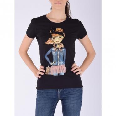 T-shirt moda m/c NERO DENIM GIRL