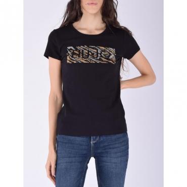 T-shirt moda m/c NERO LIUJO TOPAZ