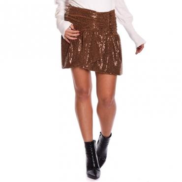 Minigonna paillettes con drappeggio COCCIO