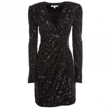 Vestito nero increspato in paillettes BLACK