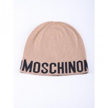 Cappello scritta logo moschino CAMMELLO