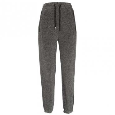 Pantalone jogger glitterato con lacci SILVER