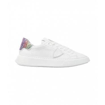 Sneaker TEMPLE LOW VEAU GLITTER BLANC bianco