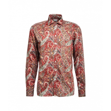 Camicia stampa paisley rosso