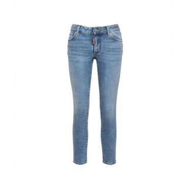 Medium Waist Cropped Twiggy Jean azzurro