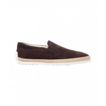Pantofole in camoscio marrone scuro
